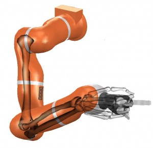 Kuka Robot positioned in the same pose of the human arm